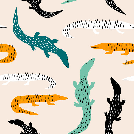 Seamless pattern with salamandras. Creative jungle childish texture. Great for fabric, textile Vector Illustration