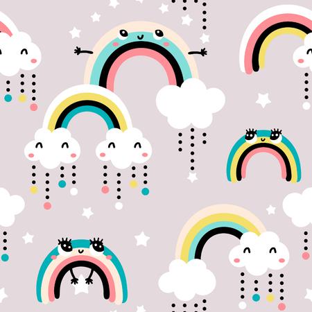 Nahtloses kindliches Muster mit niedlichem Regenbogen, Sternen, Wolken. Kreative skandinavische Kinderbeschaffenheit für Stoff, Verpackung, Textil, Tapete, Bekleidung. Vektorillustration Vektorgrafik