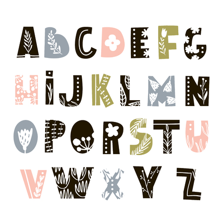 Creative decorative alphabet with floral elements. Scandinavian style abc isolated on white. Vector Illustration Stock Vector - 112090351