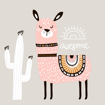 Cute cartoon llama with in tribal style. Childish print for nursery, kids apparel,poster, postcard. Vector Illustration 向量圖像
