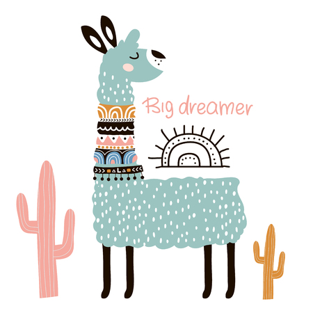 Cute cartoon llama with in tribal style. Childish print for nursery, kids apparel,poster, postcard. Vector Illustration  イラスト・ベクター素材
