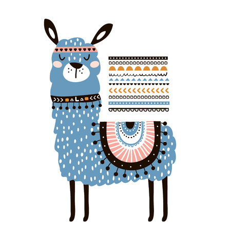 Cute cartoon llama with in tribal style. Childish print for nursery, kids apparel,poster, postcard. Vector Illustration Stock Illustratie