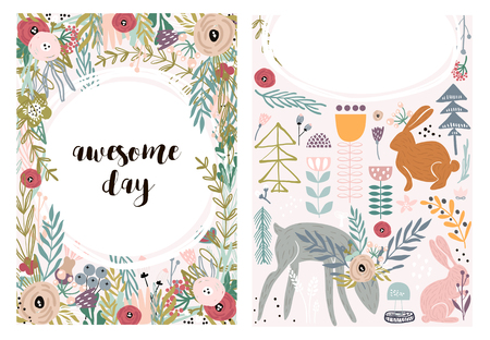 Set of greeting cards with cute animal and forest elements in pastel colors. Floral postcard, invitation and children s party. Vector Illustration Ilustração