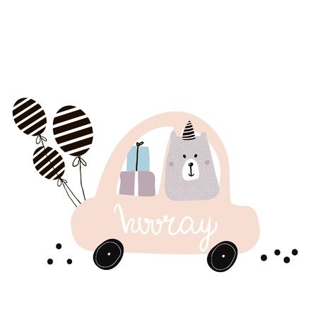 Hooray quote. Cute polar bear on cartoon car. Greeting card, posters, apparel