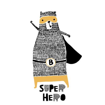 Cute hand drawn with ink bear hero. Cartoon bear vector illustration in scandinavian style Ilustrace