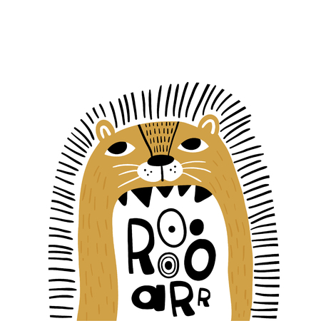 Cute cartoon lion in scandinavian style say Roar. Childish print for nursery, kids apparel,poster, postcard. Vector Illustration