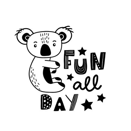 Leuke handgetekende koala in zwart-wit stijl. Cartoon koala vectorillustratie in Scandinavische stijl