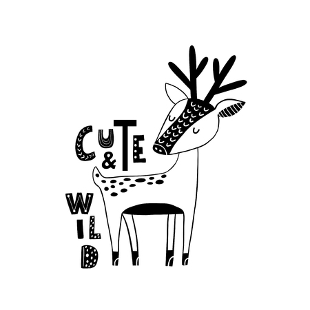 Cute hand drawn dear in black and white style. Cartoon vector illustration in scandinavian style 矢量图片