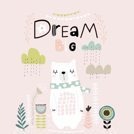Traum Großer Schriftzug. Netter Karikaturbär im Schal mit Wolken und senkt sich im skandinavischen Stil. Kindlicher Druck für Kinderzimmer, Kinderbekleidung, Plakat, Postkarte. Vektor-Illustration Vektorgrafik
