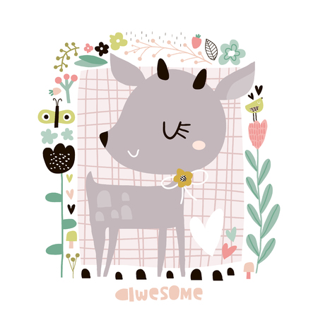 Cute cartoon deer in floral frame in scandinavian style. Childish print for nursery, kids apparel,poster, postcard. Vector Illustration Vektorové ilustrace