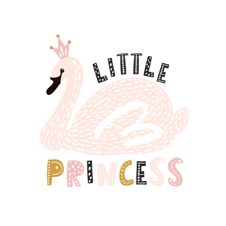 Cute princess swan print. Pink swan with crown. Great for kids apparel, nursery decoration. Vector Illustration