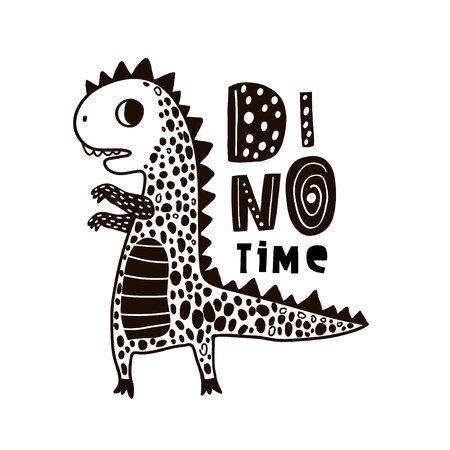 Dino dessiné main mignon avec lettrage. Illustration vectorielle de dessin animé super héros ours dans un style scandinave. Impression de vêtements vector noir et blanc