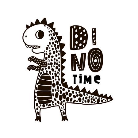 Netter handgezeichneter Dino mit Beschriftung. Cartoon Superheld Bär Vektor-Illustration im skandinavischen Stil. Schwarzweiss-Vektorkleidungsdruck