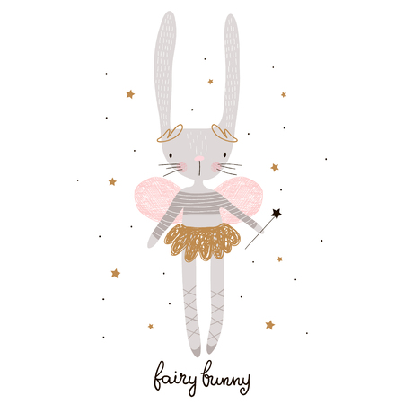 Cute cartoon bunny fairy. Rabbit bellerina with wings Childish print for nursery, kids apparel,poster, postcard. Vector Illustration Ilustração