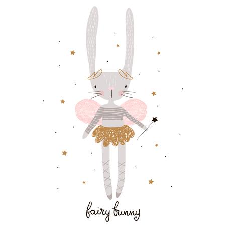Schattige cartoon konijntje fee. Konijn bellerina met vleugels Kinderachtige print voor kinderdagverblijf, kinderkleding, poster, ansichtkaart. vectorillustratie