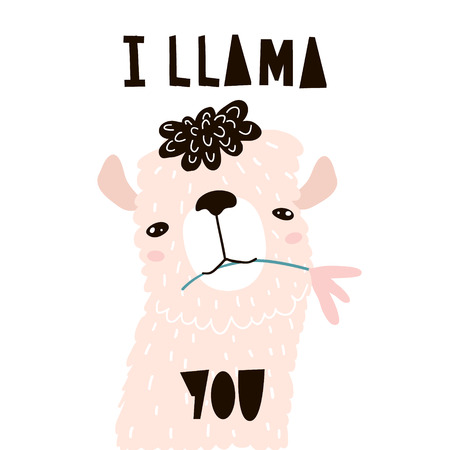 Cute cartoon llama with in flower. Childish alpaka print for nursery, kids apparel,poster, postcard. Vector Illustration