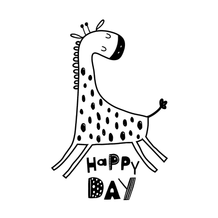 Cute hand drawn giraffe in black and white style. Cartoon vector illustration in scandinavian style Ilustração