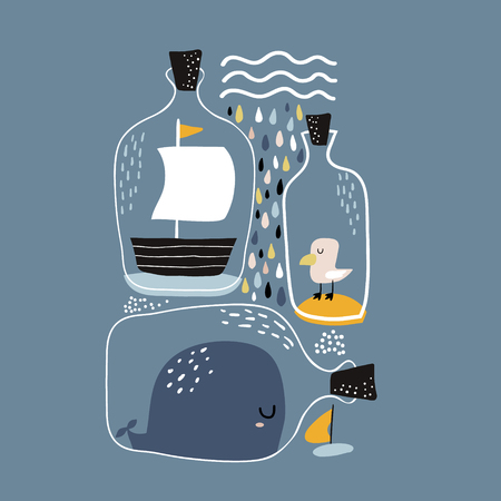 Marine print with whale, boat, seagull in bottles