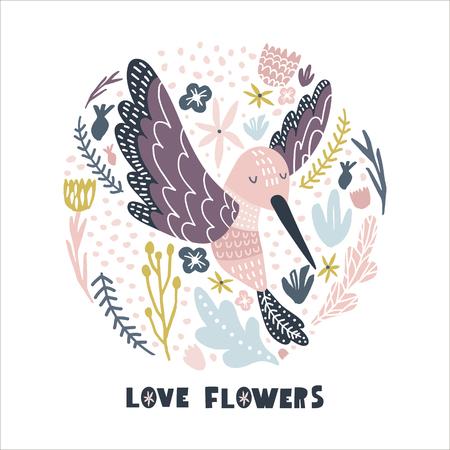 Cercle floral avec colibri. Imprimé enfantin pour crèche, vêtements pour enfants, affiche, carte postale. Illustration vectorielle