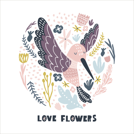 Floral circle with hummingbird . Childish print for nursery, kids apparel,poster, postcard. Vector Illustration Çizim