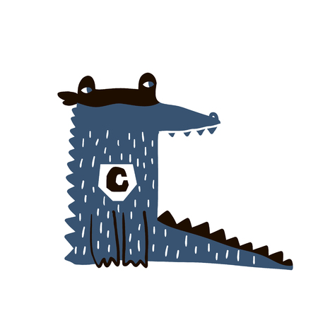 Cute cartoon crocodile hero print. Childish print for nursery, kids apparel,poster, postcard. Vector Illustration