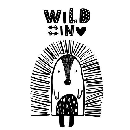 Cute hand drawn porcupine in black and white style. Cartoon vector illustration in scandinavian style Illustration