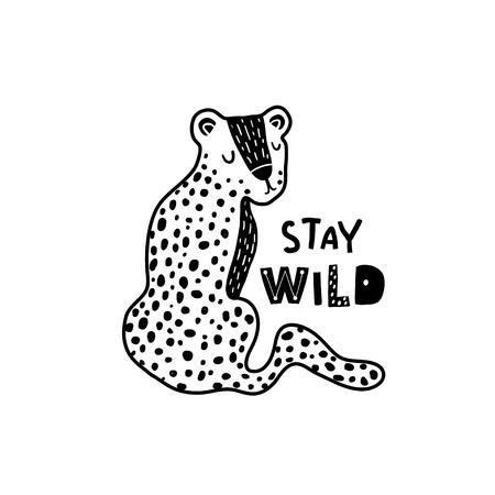 Simpatico leopardo disegnato a mano in stile bianco e nero. Fumetto illustrazione vettoriale in stile scandinavo