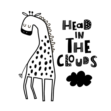 Cute hand drawn giraffe in black and white style. Cartoon vector illustration in scandinavian style  イラスト・ベクター素材