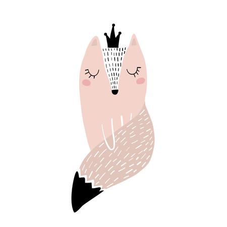 Imprimé enfantin mignon avec princesse renard rose. Parfait pour les vêtements pour enfants, les affiches, les cartes de fête prénatale. Illustration vectorielle Vecteurs
