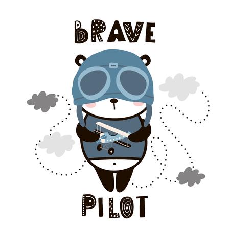 Panda lindo piloto valiente. Panda bebé de dibujos animados. Impresión infantil para guardería, ropa infantil, póster, postal. Ilustración vectorial