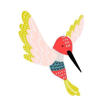 Creative hummingbird print. Cartoon vector illustration in scandinavian style
