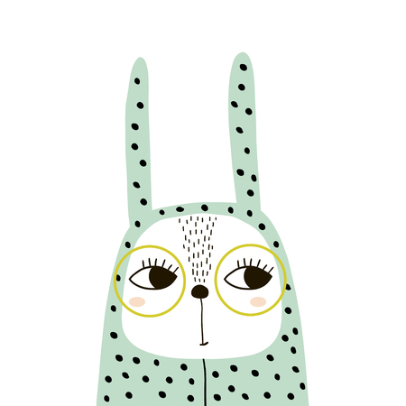 Cute bunny girl in romper and glasses. Childish print for t-shirt, apparel, cards, poster, nursery decoration. Vector Illustration