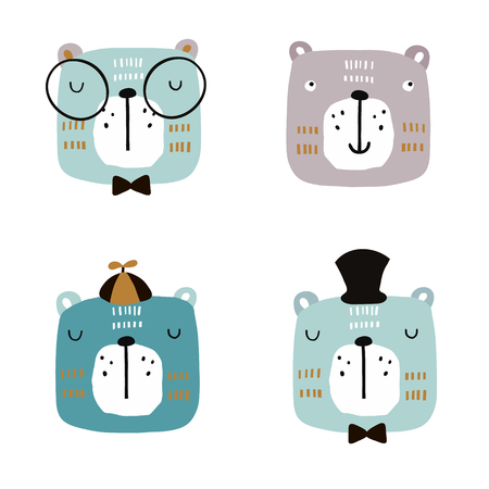 Set of four cute bear faces. Creative animal print for nursery,apparel,cards. Vector Illustration