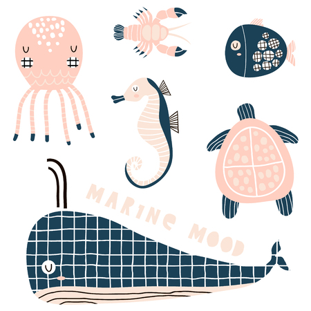 Marine graphic elements, sea horse, whale, octopus, lobster, fish,turtle vector clipart. Cute cartoon characters in modern style Ilustração