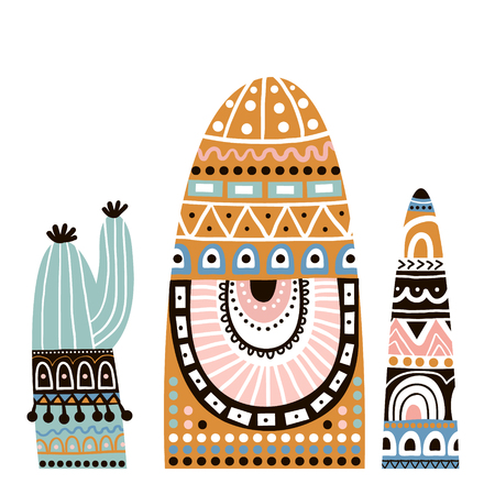 Cute cactuse in tribal style set. Vector Illustration  イラスト・ベクター素材