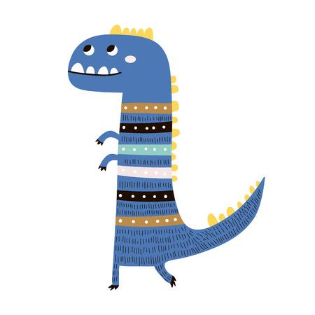 Ładny ręcznie rysowane niebieski dinozaur. Kreskówka niedźwiedź superbohater ilustracja wektorowa w stylu skandynawskim. Druk odzieży wektor czarno-biały