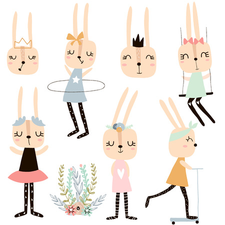 Set of cute bunny girl charachters. Vector rabbit collection Illustration