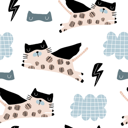 Nahtloses kindliches Muster mit niedlicher Katzenheldenmaske, Blitz, Stern, Wolke. Kreative Kindertextur für Stoff, Verpackung, Textil, Tapete, Bekleidung. Vektorillustration