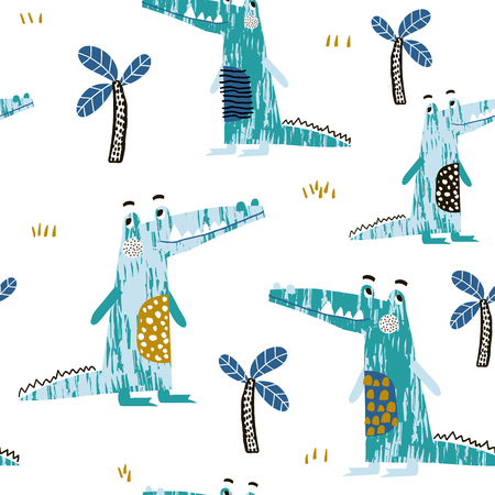 Seamless pattern with creative crocodile and palm trees. Perfect for kids apparel,fabric, textile, nursery decoration,wrapping paper.Vector Illustration