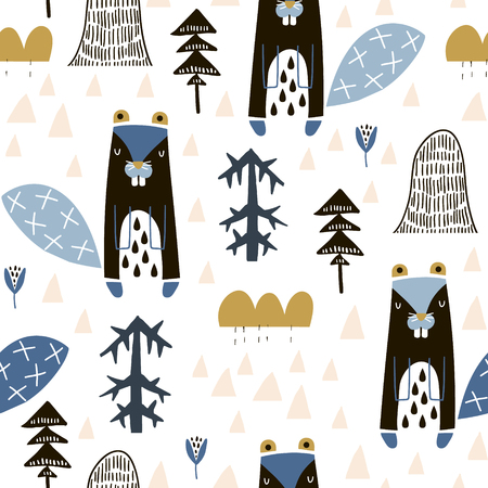 Seamless childish pattern with cute beavers in the wood. Creative kids monochrome texture for fabric, wrapping, textile, wallpaper, apparel. Vector illustration