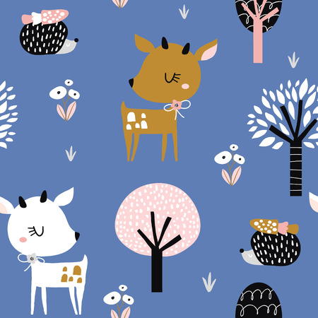 Seamless childish pattern with cute deer, hedgehog in the wood. Creative kids city texture for fabric, wrapping, textile, wallpaper, apparel. Vector illustration