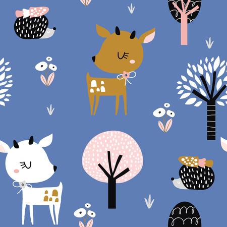Seamless pattern infantile con simpatici cervi, riccio nel legno. Trama di città per bambini creativi per tessuto, involucro, tessuto, carta da parati, abbigliamento. Illustrazione vettoriale Vettoriali