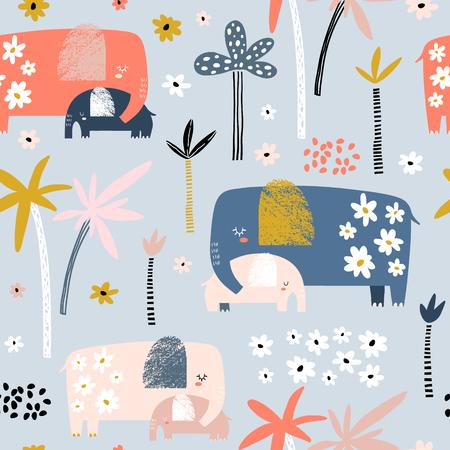Modèle sans couture avec maman mignonne et bébé éléphant, palmiers et fleurs. Texture enfantine créative. Idéal pour le tissu, illustration vectorielle textile