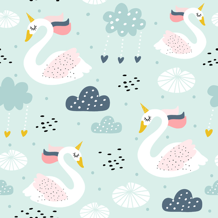 Motif enfantin sans couture avec licorne de cygne. Texture créative de pépinière. Parfait pour la conception des enfants, le tissu, l'emballage, le papier peint, le textile, l'habillement