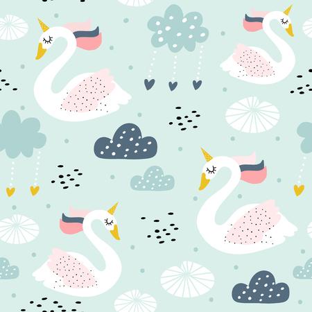 Nahtloses kindisches Muster mit Schwaneneinhorn. Kreative Kinderzimmer Textur. Perfekt für Kinderdesign, Stoffe, Verpackungen, Tapeten, Textilien, Bekleidung