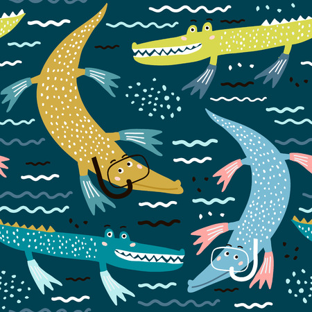 Modèle sans couture avec plongeur crocodile. Fond pour enfants modernes créatifs. Parfait pour les vêtements pour enfants, le tissu, le textile, la décoration de crèche, le papier d'emballage.Illustration vectorielle Vecteurs
