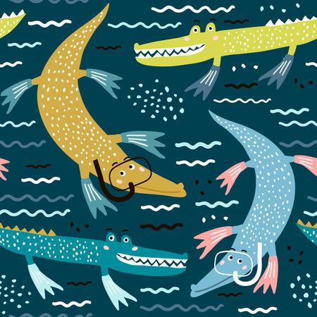 Nahtloses Muster mit Krokodil-Taucher. Kreativer moderner Kinderhintergrund. Vervollkommnen Sie für Kinderbekleidung, Stoff, Textil, Kinderzimmerdekoration, Geschenkpapier. Vektor-Illustration Vektorgrafik