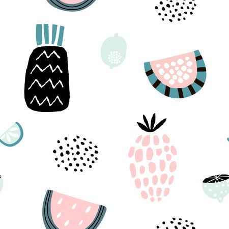 Letni wzór z kreatywnymi owocami, ananasem, arbuzem, cytrynami. Ręcznie rysowane owoce modne tło. Doskonały do tkanin i tekstyliów.