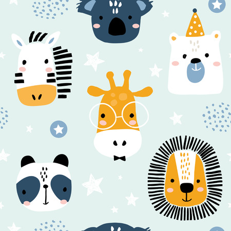 Seamless childish pattern with funny animals faces . Creative scandinavian kids texture for fabric, wrapping, textile, wallpaper, apparel. Vector illustration Stock Vector - 111672414