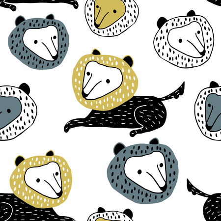 Seamless childish pattern with cute cartoon wolfs. Creative kids texture for fabric, wrapping, textile, wallpaper, apparel. Vector illustration